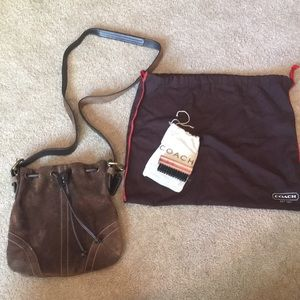 Coach cross body brown suede bag